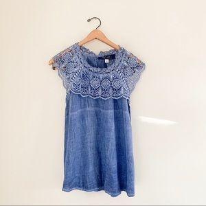 Francesca's Blue Rain Blue Crochet Collar Tunic